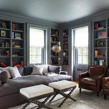 Gray Paneled Den, Eclectic, den/library/office, Chango & Co.