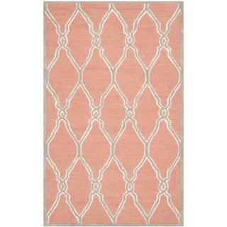 Safavieh Handmade Moroccan Cambridge Coral/ Ivory Wool Rug (3' x 5'), Overstock.com