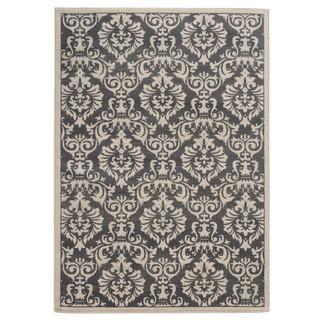 Traditional Floral Charcoal/ Ivory Area Rug (5'3 x 7'3), Overstock.com
