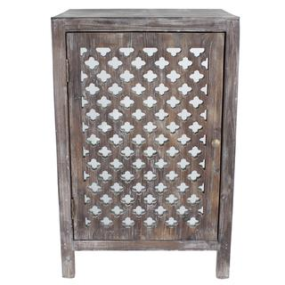 Distressed Grey Quatrefoil End Table with Mirror Accent, Overstock.com