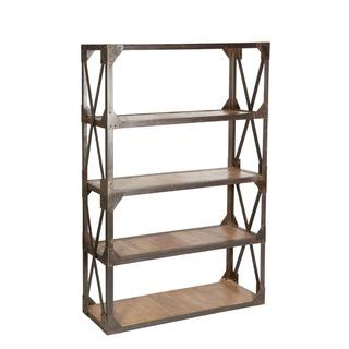 Industrial Style Wood and Iron Bookshelf, Overstock.com