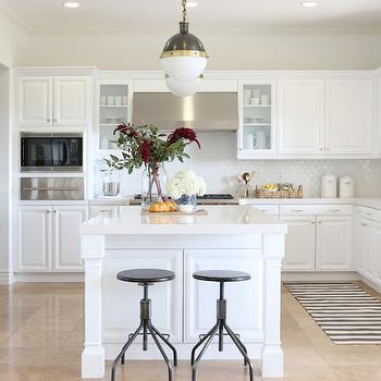 Stripe Kitchen Runner, Transitional, kitchen, Benjamin Moore White Heron, Shea McGee Design