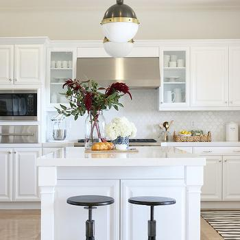 Walker Zanger Hexagon Mosaic Tile, Transitional, kitchen, Benjamin Moore White Heron, Shea McGee Design