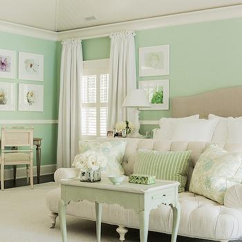 Mint Green Bedrooms, Cottage, bedroom, Brookes and Hill Custom Builders
