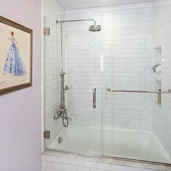 Shower with Beveled Subway Tiles, Transitional, bathroom, Lauren Shadid Architecture