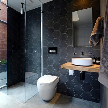 Black Hex Tiles, Modern, bathroom, The Block Glasshouse