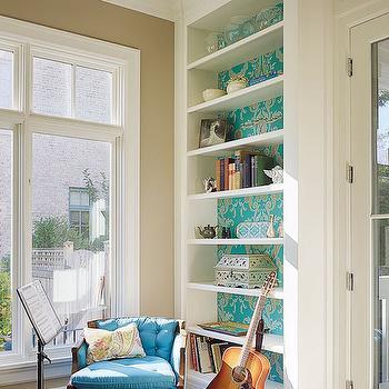 Wallpaper on Back of Bookshelf, Transitional, Den/library/office, Lewis Giannoulias interiors