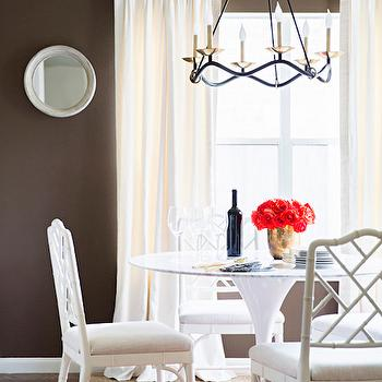 Chocolate Brown Paint Colors, Transitional, Dining Room, Behr Aging Barrel, Paloma Contreras