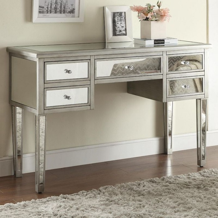 Modern Antiqued Silver 5 Drawer Console Table 291 27