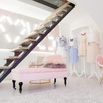 Pink Tufted Bench, Contemporary, Closet, Lena Terlutter