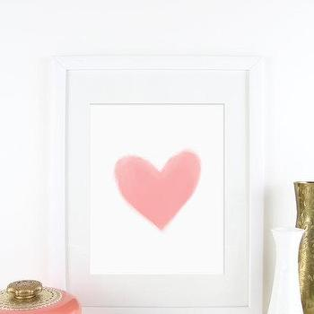 Coral Heart Hand Drawn Digital Instant Download I Etsy