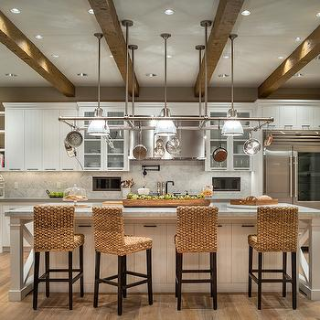 Pot Rack Over Island, Transitional, Kitchen, Benjamin Moore Maritime White, TTM Development