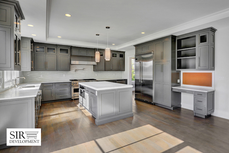 Charcoal Gray Kitchen Cabinets, Transitional, Kitchen, Sir Development