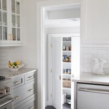 Bianco Macabus Quartzite Countertops, Transitional, Kitchen, Benjamin Moore Cape May Cobblestone, Erin Gates Design