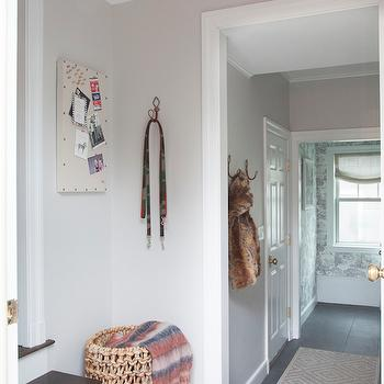 Light Gray Paint Colors, Transitional, Entrance/foyer, Benjamin Moore Balboa Mist, Erin Gates Design