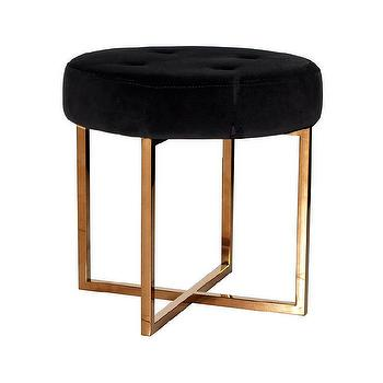 Worlds Away Melanie Black Velvet and Brass Stool I Zinc Door