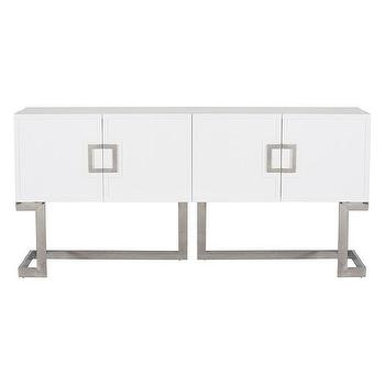 Worlds Away Braxton White Lacquer and Stainless Steel Media Console I Zinc Door