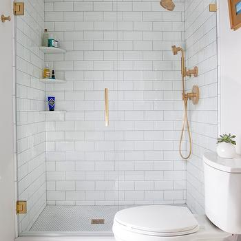 Gold Shower Head, Transitional, Bathroom, Sherwin Williams Elder White, Erin Gates Design