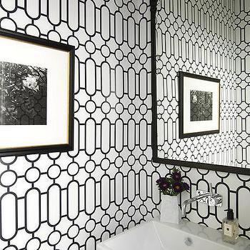 White and Black Powder Rooms, Transitional, Bathroom, Jodie Rosen Design