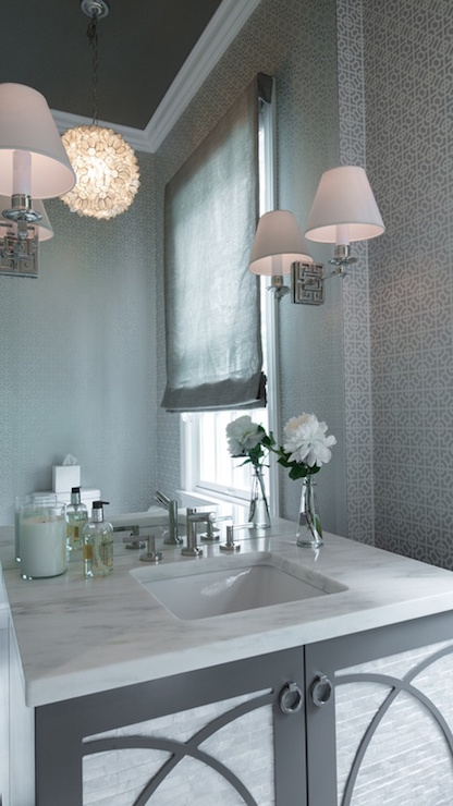Gray Powder Room Design Contemporary Bathroom