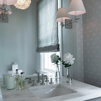 Gray Powder Room Design, Contemporary, Bathroom, Hirshson Design Group