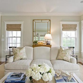 Light Jhaki Paint Colors, Cottage, Living Room, Benjamin Moore Nantucket Breeze, Design New England
