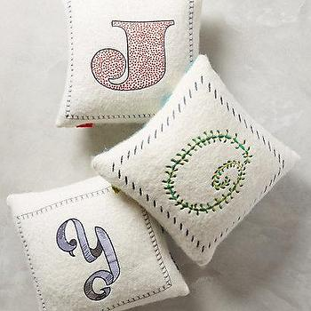Embroidered Monogram Pillow I Anthropologie