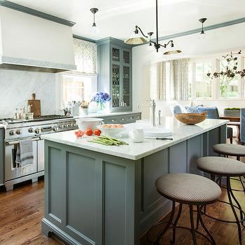 Blue Gray Cabinets, Transitional, Kitchen, Westbrook Interiors