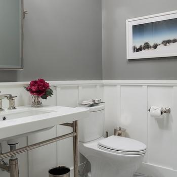 Board And Batten Powder Room Transitional Bathroom