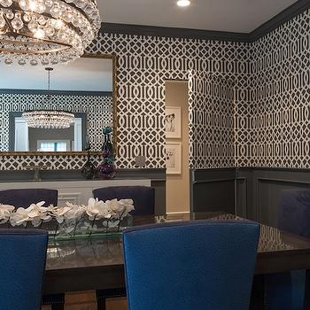 Gray Wainscoting, Contemporary, Dining Room, Hirshson Design Group