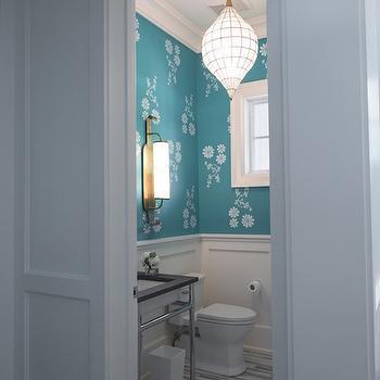Gray Glass Tile Floor, Transitional, Bathroom, Hirshson Design Group