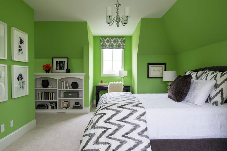 Lime green paint colors contemporary girl 39 s room for Bedroom interior designs green
