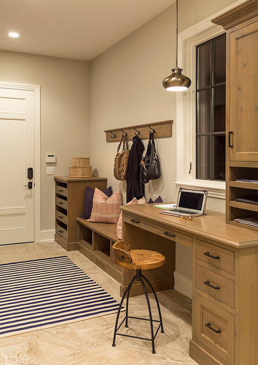 Mudroom With Desk Country Laundry Room Hendel Homes