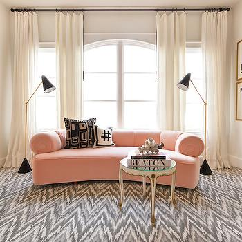 Blush Pink Sofa, Contemporary, Living Room, Sally Wheat Interiors