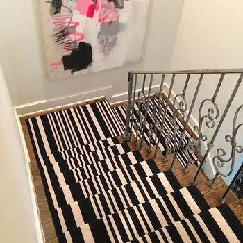 Black and White Stripe Stair Runner, Contemporary, Entrance/foyer, Sally Wheat Interiors