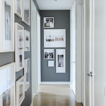 Hall Photo Wall Ideas, Contemporary, Entrance/foyer, Benjamin Moore Kendall Charcoal, Shift Interiors
