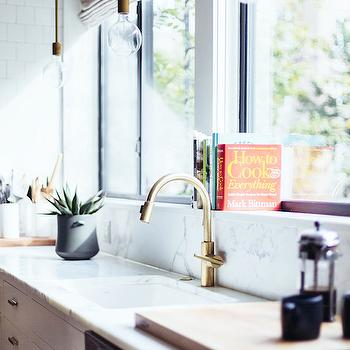 Kitchen with Brass Gooseneck Faucet, Contemporary, Kitchen, One Fine Stay