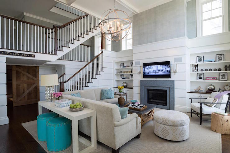 Fireplace With Bookcases Transitional Living Room Alisberg Parker Architects