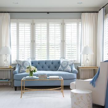 Blue Tufted Sofa, Transitional, Bedroom, Munger Interiors
