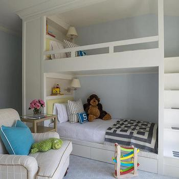 Bunk Bed Staircase, Transitional, Girl's Room, Alisberg Parker Architects