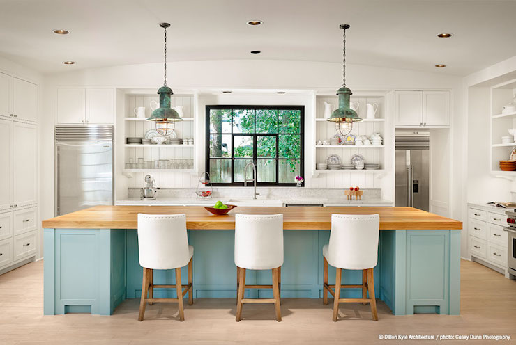 Turquoise Kitchen Island, Cottage, Kitchen, Dillon Kyle Architecture