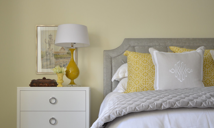 Yellow and gray bedroom design transitional bedroom for Yellow grey bedroom designs