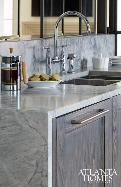 Waterfall Edge Countertop - Contemporary - Kitchen - Atlanta Homes ...