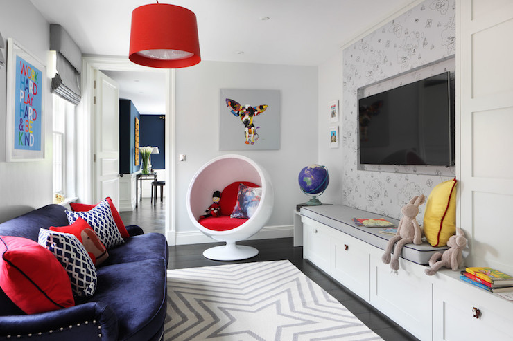 Kids Tv Room Ideas Contemporary Den Library Office
