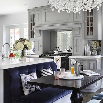 Island Banquette Design, Contemporary, Kitchen, Zoffany Paint Silver, Oliver Burns