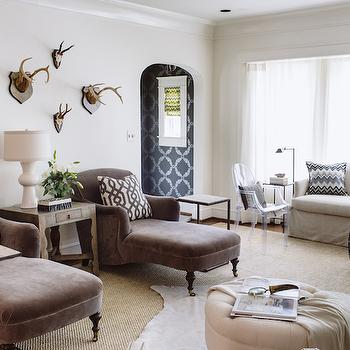 Brown Velvet Chaise Lounge, Transitional, Living Room, Dana Wolter Interiors