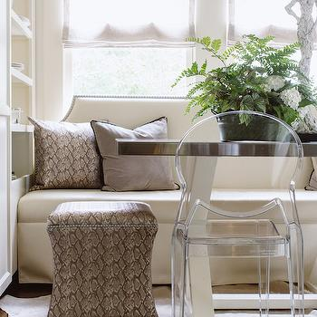 Upholstered Dining Bench with Nailhead Trim, Transitional, Dining Room, Dana Wolter Interiors