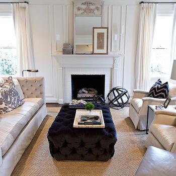 Black Velvet Tufted Ottoman, Transitional, Living Room, Dana Wolter Interiors