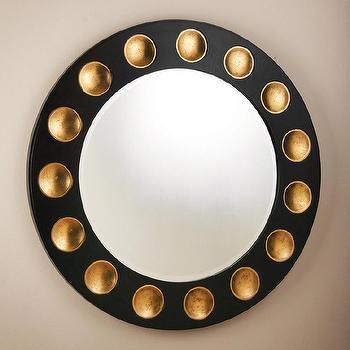 Global Views Domino Black/Gold Leaf Round Mirror I Zinc Door