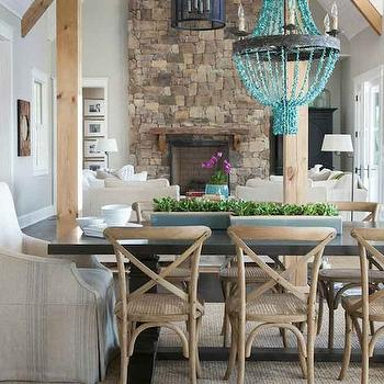 Turquoise Beaded Chandelier, Transitional, Dining Room, Julie Couch Interiors